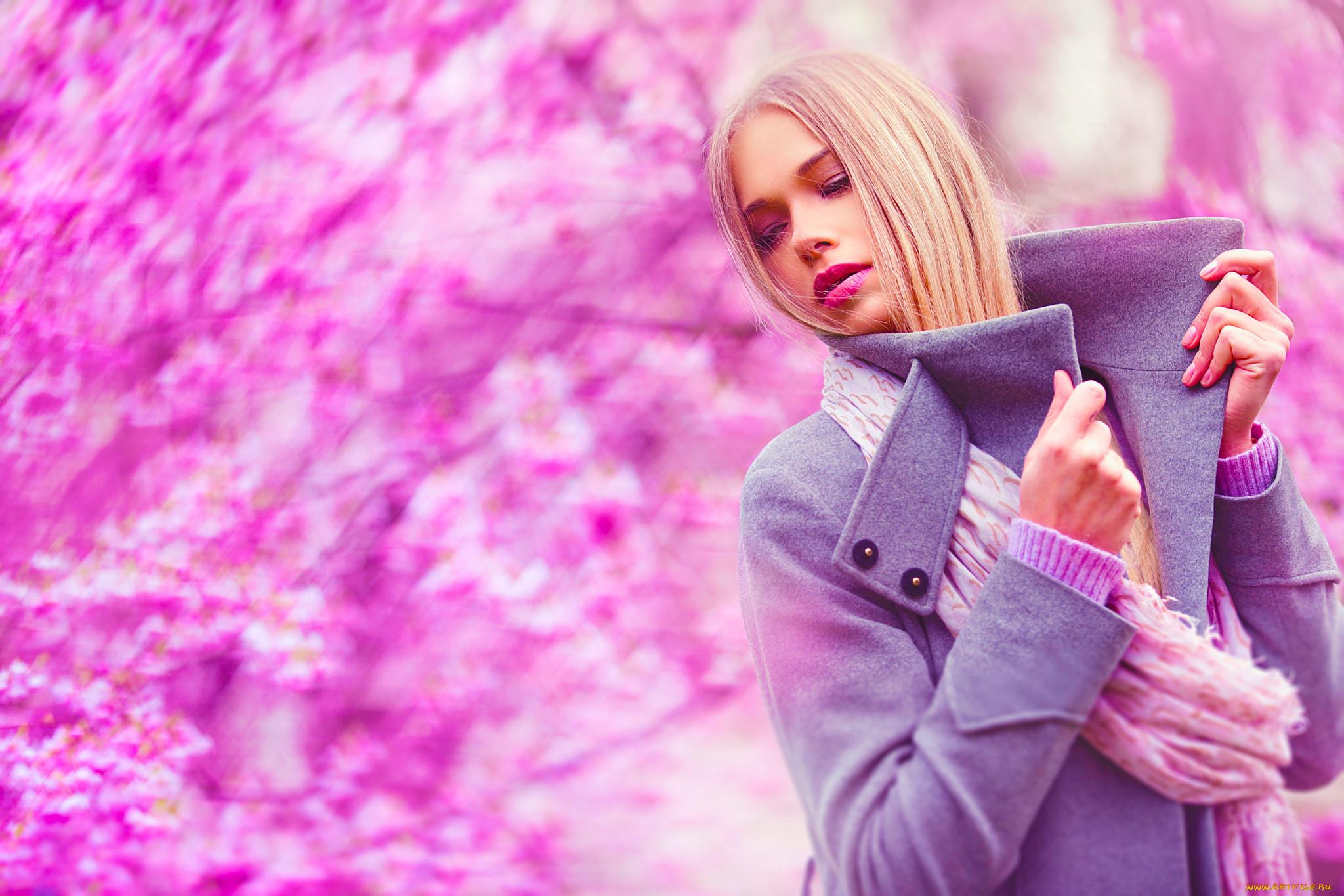 Картинка девушка блондинка в розовом